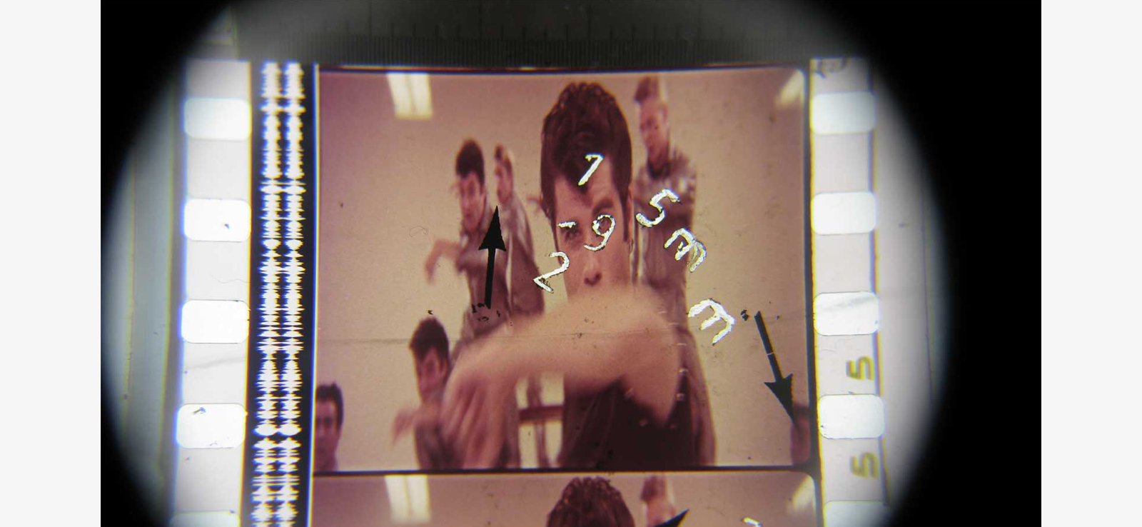 Antoni Pinent handmade film's frame from experimental animation G/R/E/A/S/E